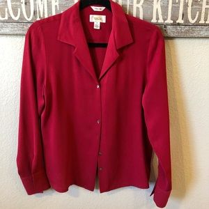 Talbots 100% Silk Button Down Blouse. Size 10.